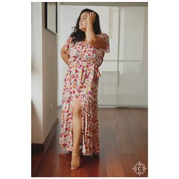 Maxi vestido Yolanda - Flores magenta