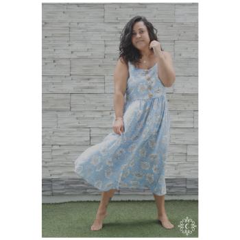 Vestido Susann - Celeste floreado